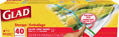Glad Zipper Food Storage Plastic Bags - Gallon - 40 Count - Pack of 9
