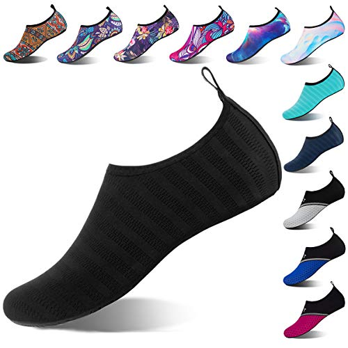 Water Shoes for Womens and Mens Summer Barefoot Shoes Quick Dry Aqua Socks for Beach Swim Yoga Exercise (LXY.Black, 38/39)