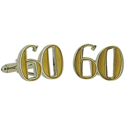 Wendy Jones Blackett Two Tone Diecast ''Happy 60th Birthday'' Cufflinks in - Tone Two Diamond Cufflinks