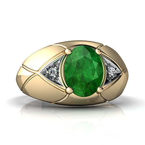 14kt Yellow Gold Emerald and Diamond 8x6mm Oval Men's Ring - Size 8 ()