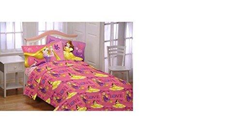 Disney Princess Flannel Sheet Set (Twin Size Crowned By Friendship) (Kids Twin Flannel Sheets)
