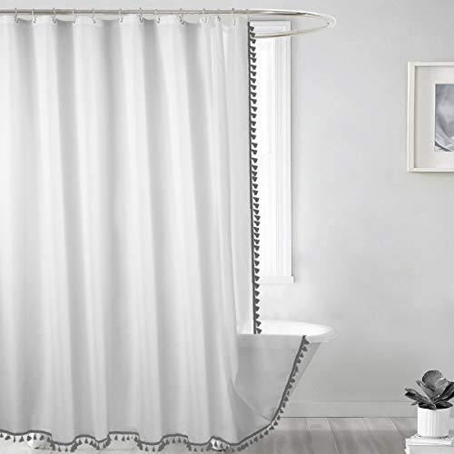Seavish Tassel Shower Curtain, 72 x 72 White Fabric Shower Curtains with Grey Fringe,Chic Boho Bathroom Curtains,Simply Design, Heavy Weighted and Waterproof