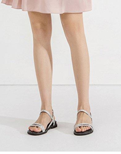 Sandali 34 Pantofole casual da Sandali Sandali basso tacco tacco piatti moda alti Tacchi a basso estivi Argento alla DHG con donna RqvFzqx