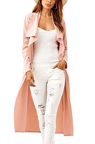 Women 's Long Sleeve Drape Solapa Fit Maxi Longitud Frontal Abierto Guerreras Con Cinturón Pink
