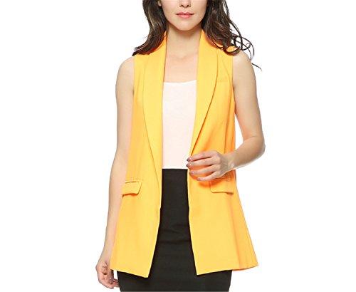 Caseminsto Women Fashion Elegant Office Lady Pocket Coat Sleeveless Vests Jacket Outwear Casual Brand Black M by Caseminsto (Image #3)