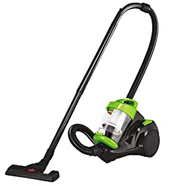 Bissell Zing Canister, 2156A Vacuum, Green Bagless 2 Dirt cup capacity 2 liters; Cyclonic action and powerful suction provide thorough cleaning; Plus, no more bags to buy or change ever Easily go from cleaning carpets to hard floors with the flip of a switch. Power Rating : 9 amps DIRT cup filters and Post Motor filter help capture more Fine dust and particles. Filters are washable and reusable