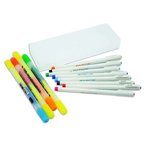 Siruier Colored Gel Pens Set With Pencil Case And Twin Highlighter Maker Pens(White Case)
