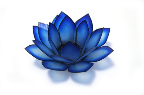 Om Gallery Capiz Shell Lotus Tea Light Holder, Blue Lagoon