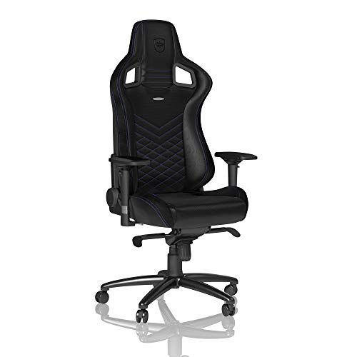 noblechairs Epic Gaming Chair - Office Chair - Desk Chair - PU Faux Leather - 265 lbs - 135° Reclinable - Lumbar Support Cushion - Racing Seat Design - Black/Blue