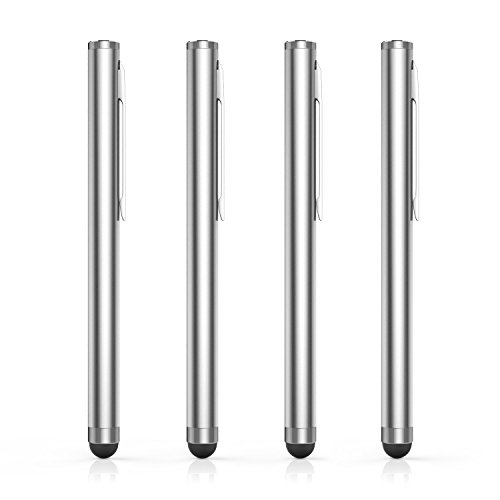 (MoKo Rubber Tip Stylus(4PCS), Universal 8mm High-Precision Pen for Touch Screen Devices Smartphones & Tablets (iPad, iPhoneXR/XS/XS MAX,Samsung Galaxy S10/S10+/S10e/Note 8/Note 9) - Silver)
