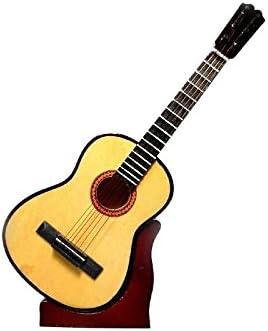 2503-1161-Guitarra española decorativa miniatura en madera, 24 centimetros. Con estuche y soporte