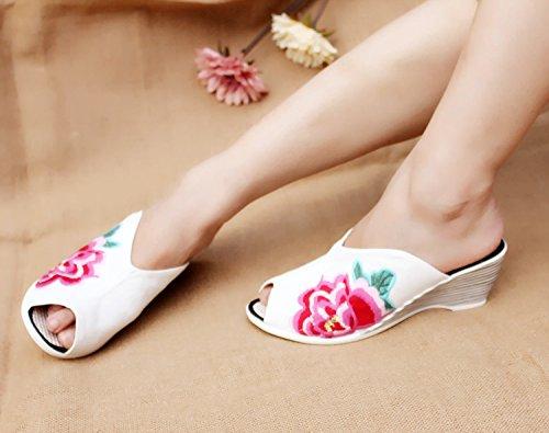 Fankou Calzature Donna ragazza cool pantofole pantofole ricamate le piste con biancheria da letto di cotone traspirante 39 Bianco