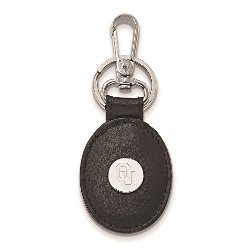 - University of Oklahoma Black Leather Oval Key Ring (Sterling Silver)