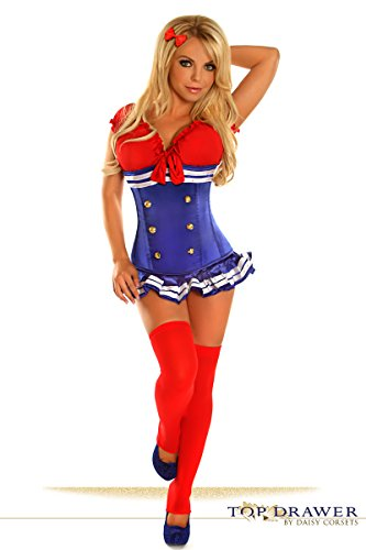 Pin Up Girl Costumes Corset (Top Drawer 3 PC Pin-Up Sailor Girl Costume 2X)
