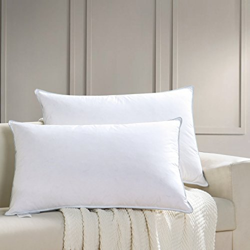 AIKOFUL Feather Down Bed Pillow,Queen Size 2 Pack, Firm White Goose Down Feather Pillow,Cotton Cover Fashionable Piping