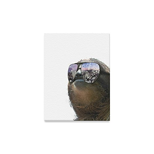Space Universe Galaxy Cute Sloth Wearing Sunglasses Oil Painting Home Decor Canvas Prints- 12x16 Inch(One - Wearing Sunglasses Inside