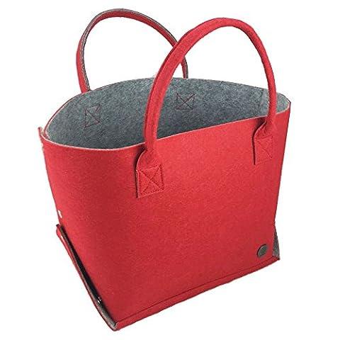 Lanvdesign Felt Travel Carry Bag Shoulder Handbag Shopping Work Bag Tote Bag (Red/Grey)