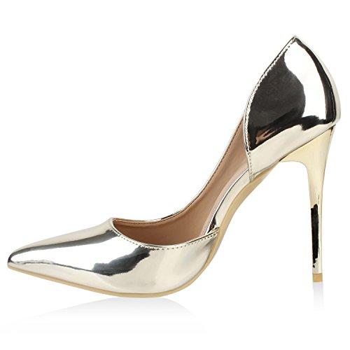 Stiefelparadies Spitze Damen Pumps Stiletto High Heels Metallic Schuhe Lack Absatzschuhe Elegante Abendschuhe Abiball Flandell Gold