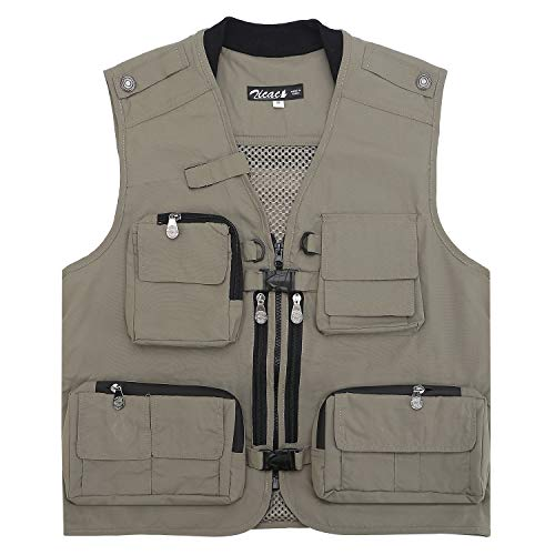 Zicac Mens Pure Cotton Multi-Pocketed Fishing Vest for Camping Hunting Fishing Photography