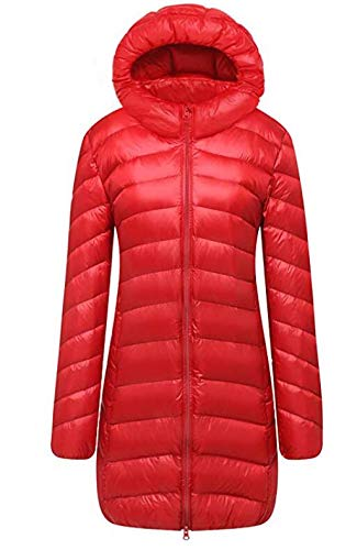 Cloudy Arch Women's Winter Lightweight Packable Hooded Down Jacket(Red,M) ()