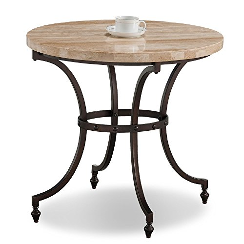 (Leick Home Oval Travertine Stone Top Side Table)