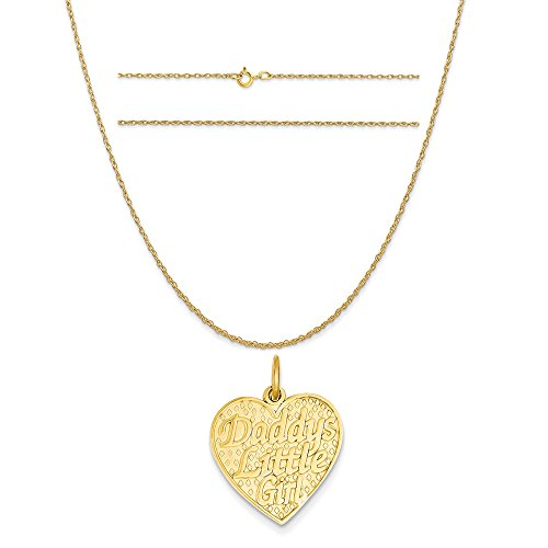 14k Yellow Gold Daddys Little Girl Charm on a 14K Yellow Gold Carded Rope Chain Necklace, 20