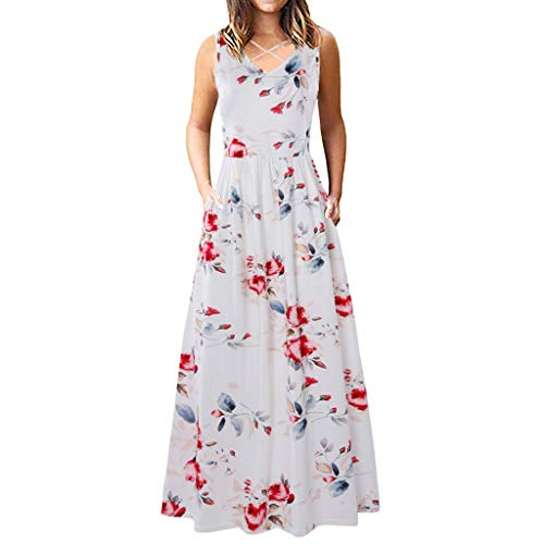 Dresses for Women Casual Summer Dresses Front Criss Cross Maxi Dress Bohemian Floral Loose Long Dresses with Pockets ()