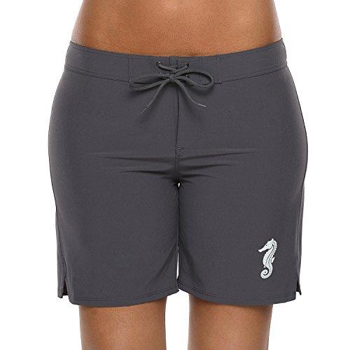 (Vegatos Women Stretch Long Swimming Shorts Sports Boardshorts Beach Bottoms)