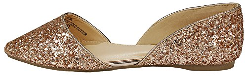 Womens Chic In Ecopelle Scamosciata / Glitter Slip On Punta A Punta V Side Balletto Dorsay Scarpe Piatte Dress Rosegold