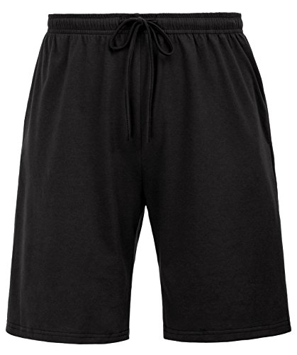 Zexxxy Cotton Jersey Shorts with Pockets Elastic Waist with Drawstring Black M -