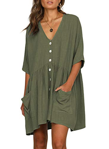 FIYOTE Women Casual V Neck Fit Half Sleeve Short Swing Tunic Shift Beach Dress Medium Size Green 2 ()