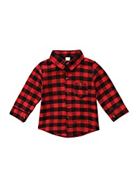 Jwhui Toddler Kids Baby Boys Printed Plaid Tops Shirts Long Sleeve Letter Shirts Clothes 1-7T