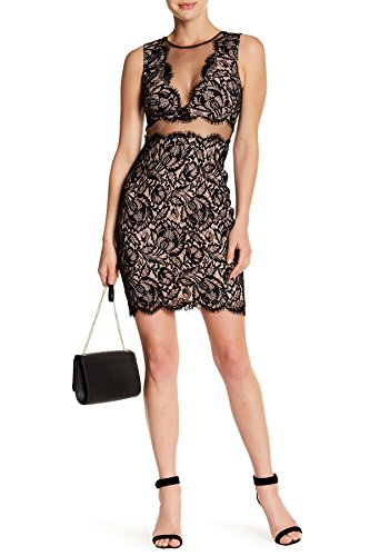 Nicole Miller Illusion Neckline Sleeveless Lace Cocktail Party Wedding Dress For Women In Black and Nude, 8