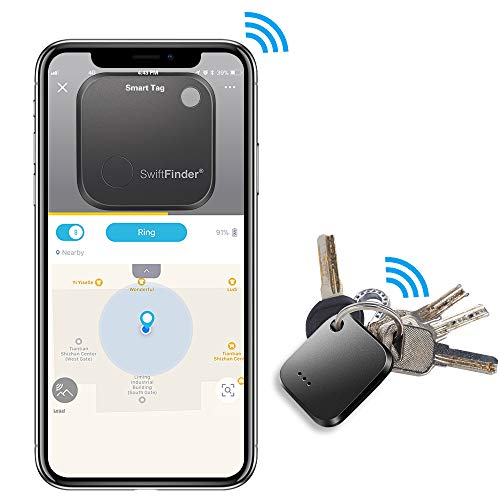 Key Finder,Phone Finder,Bluetooth Tracking Locator for Keys,Wallet,Bag,Luggage,with App Control,Smart Anti Lost Alarm,for iPhone iOS/Android Compatible[Replaceable Battery with Long Standby Time] by Toksam