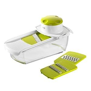 Emsa 507267 Multi-Reibe mit Auffangschale, 3 Einsätze, Weiß/Grün, Smart Kitchen