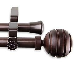 A&F Rod Decor - Dipper Double Curtain Rod 66-120 inch - Cocoa
