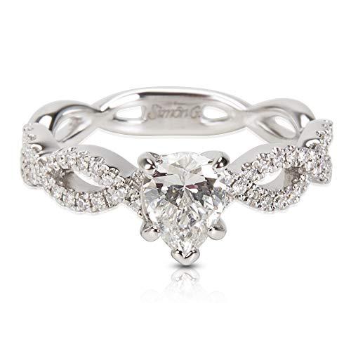 (Certified Simon G Pear Shape Diamond Engagement Ring in 18KT White Gold 0.98 ctw)