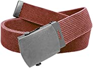 Men's Casual Outdoor Distressed Cotton Canvas Belt with Antique Military Buckle Opt