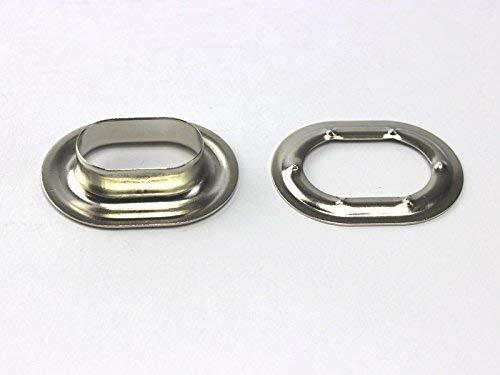 5 oval Ösen vernickelt Planen-Ovalösen Neu 22,5 x 13,5mm  für Drehverschlüsse