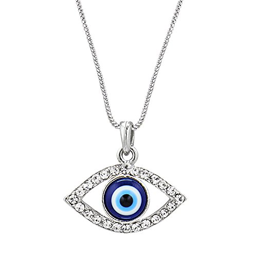 Bodha Moon Dust 925 Silver and Rhodium Plated Evil Eye Pendant with Chain & Crystals -