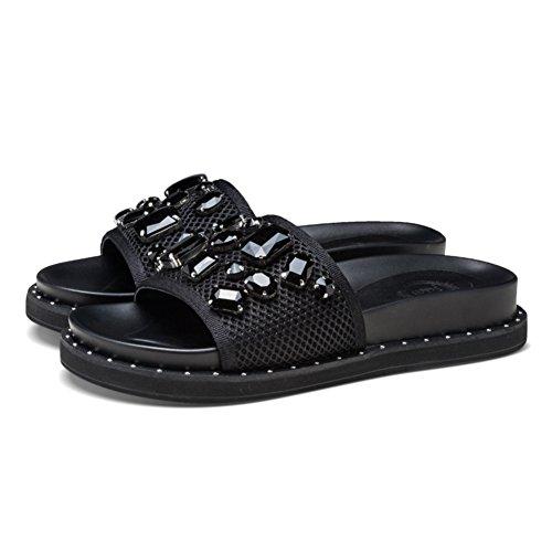 Sandalias gruesas de verano/Zapatillas de cuero de moda de diamantes B