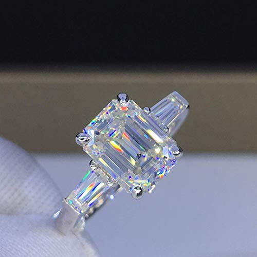Baguette Three Stone Moissanite Engagement Ring Emerald Cut Three Carats Colorless VVS1 14K 18K White Gold Rose Gold Yellow Gold ()
