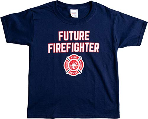 Future Firefighter | Cute Kid's Fire Fighter Badge Boy Girl Child T-Shirt - (Youth,S) Navy -