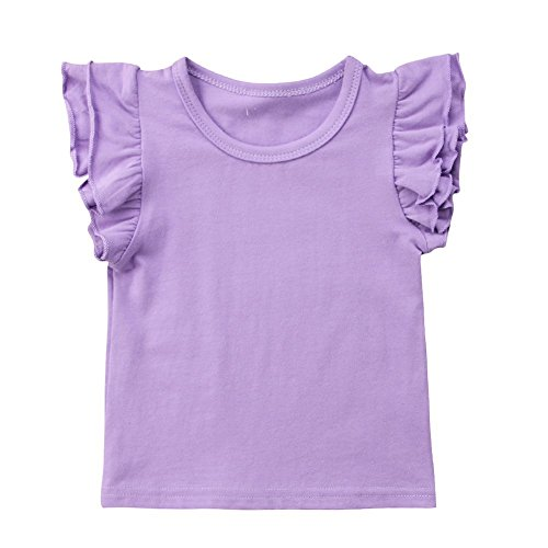 (Infant Toddler Baby Girl Top Basic Plain Ruffle T-Shirt Blouse Casual Clothes (6-12 Months, Purple))