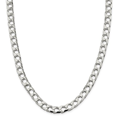 ICE CARATS 925 Sterling Silver 8.6mm Link Curb Chain Necklace 24 Inch Square Flat by ICE CARATS