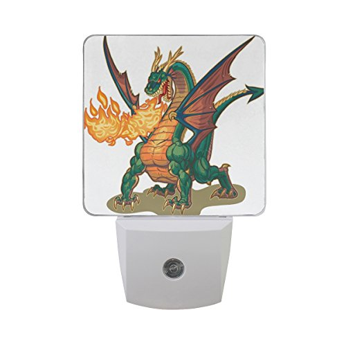 Naanle Set of 2 Muscle Dragon with Wings Jet Fire Flame Cartoon Clip Art Mascot Auto Sensor LED Dusk to Dawn Night Light Plug in Indoor for Adults
