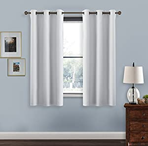 Blackout Curtains For Kitchen Window   PONY DANCE Thanksgiving Day Gift  Ring Top Blackout Curtain Panels Window Drapes For Hotel,42 X 45  Inches,Greyish ...