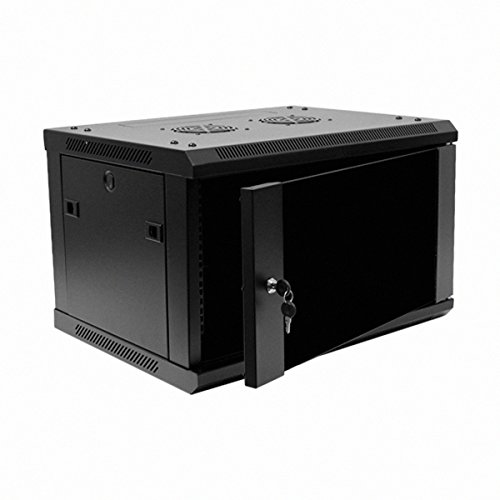 Navepoint 6U Deluxe IT Wallmount Cabinet Enclosure 19-Inch Server Network Rack With Locking Glass Door 16-Inches Deep Black (Rack Mount Server Case With Rails)