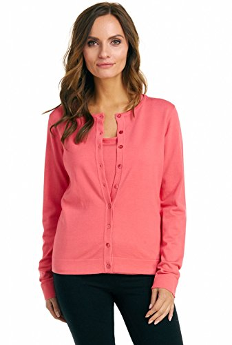 Ribbed Silk Cardigan (August Silk Women's Long Sleeve Crew Neck Silk Blend Twin Cardigan, Tuscan Coral, XLarge)