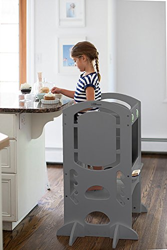 Limited Edition Learning Tower Kids Adjustable Height Kitchen Step Stool with Safety Rail – Wood Construction – Quality Learning Furniture from Little Partners (Earl Grey)… by Little Partners (Image #2)